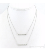 Collier double chaîne avec pendentifs rectangulaire en métal argentée