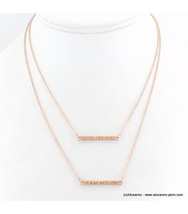 Collier double chaîne avec pendentifs rectangulaire en métal