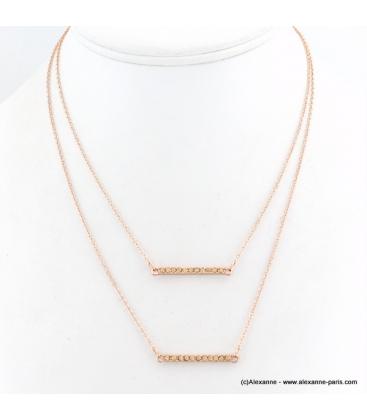 Collier double chaîne avec pendentifs rectangulaire en métal rose doré