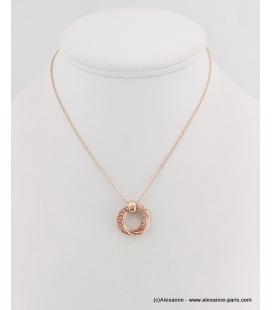 Collier pendentif cercles métal et strass