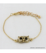 Bracelet vintage hibou dorée