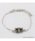 Bracelet vintage hibou argentée