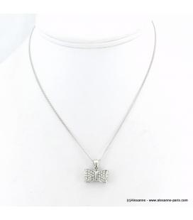 Collier pendentif noeud papillon métal et strass