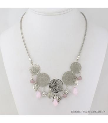 Collier en filigrane, cristal et métal rose