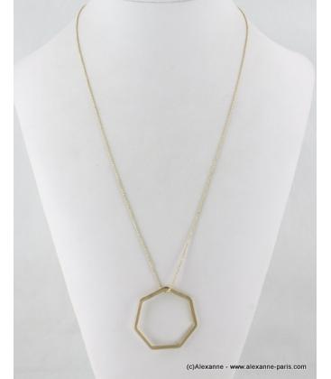 Sautoir pendentif heptagone métal doré