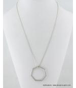 Sautoir pendentif heptagone métal argenté