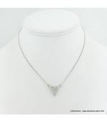 Collier pendentif triangulaire métal et strass argenté