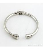 Bracelet métal et strass argenté