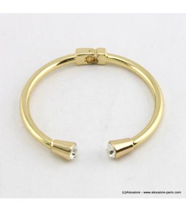 Bracelet métal et strass doré