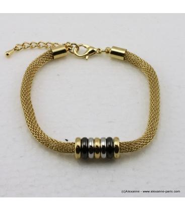 Bracelet en maille tubulaire et pendentifs ronds métal doré