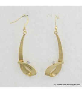 Boucles d'oreilles pendantes métal et strass