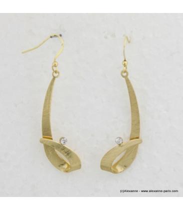 Boucles d'oreilles pendantes métal et strass doré