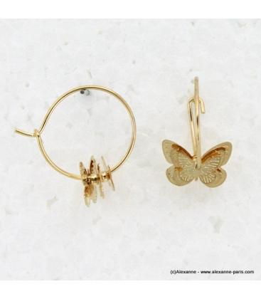 Boucles d'oreilles créoles pendentif papillon