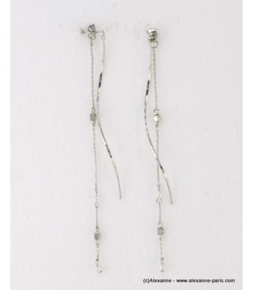 Longues boucles d'oreilles pendantes métal argenté