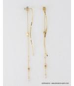 Longues boucles d'oreilles pendantes métal doré