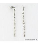 Boucles d'oreilles pendantes métal et strass argenté