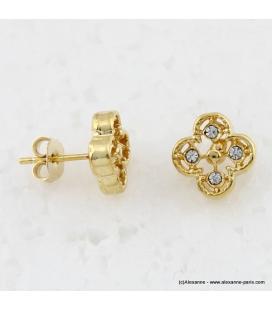 Boucles d'oreilles trèfles métal et strass