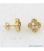 Boucles d'oreilles trèfles métal et strass doré