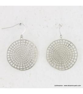 Boucles d'oreilles rondes en métal brossé