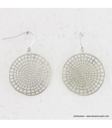 Boucles d'oreilles rondes en métal brossé argenté