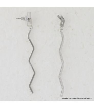 Boucles d'oreilles zig zag pendantes en métal