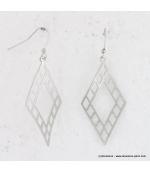Boucles d'oreilles triangle en métal brossé argenté