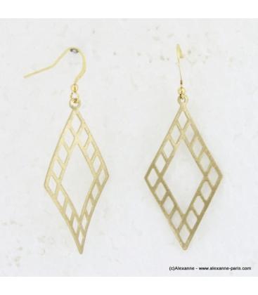 Boucles d'oreilles triangle en métal brossé doré