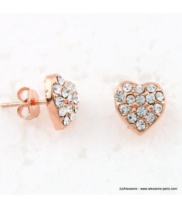 Boucles d'oreille coeur métal et strass