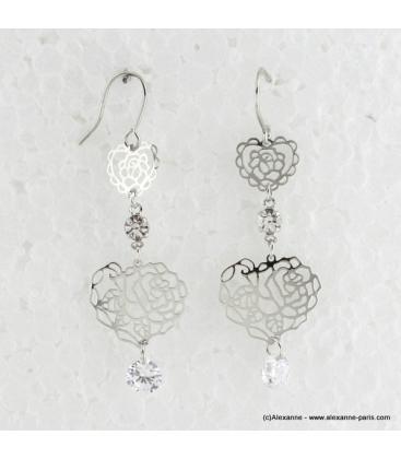 Boucles d'oreilles en coeur filigranées et métal argenté