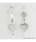 Boucles d'oreilles en coeur filigranées et métal
