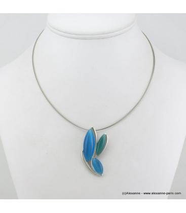 Collier sur câble pendentifs oeil de chat en métal bleu