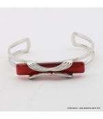 Bracelet rectangulaire oeil de chat métal rouge corail