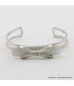 Bracelet rectangulaire oeil de chat métal blanc