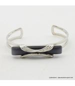 Bracelet rectangulaire oeil de chat métal gris foncé