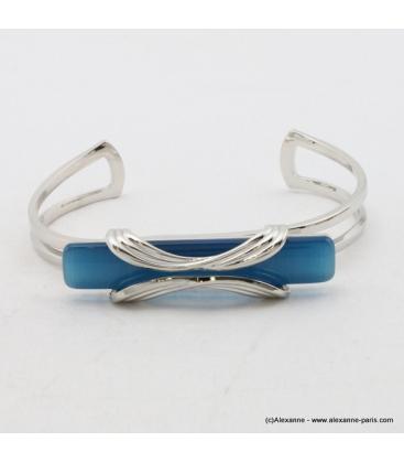 Bracelet rectangulaire oeil de chat métal bleu