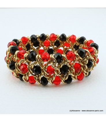 Bracelet vintage métal et cristal rouge