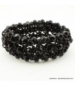 Bracelet vintage métal et cristal noir
