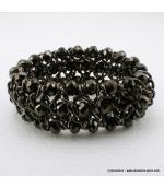 Bracelet vintage métal et cristal gris