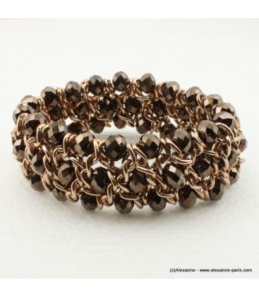 Bracelet vintage métal et cristal taupe