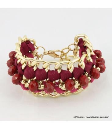 Bracelet vintage maillon et perle de cristal rouge