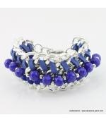 Bracelet vintage maillon et perle de cristal bleu