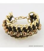 Bracelet vintage maillon et perle de cristal marron