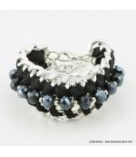 Bracelet vintage maillon et perle de cristal noir
