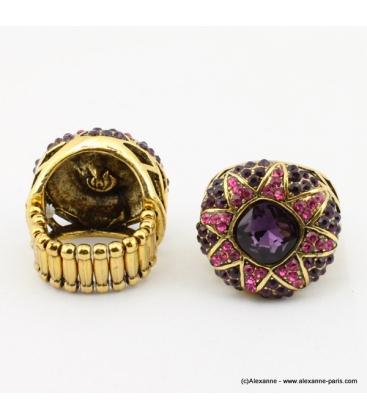 Bague vintage métal et strass violet