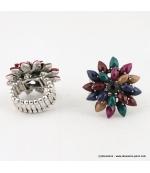 Bague fleur vintage métal multi