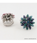 Bague fleur vintage métal bleu