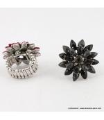 Bague fleur vintage métal noir