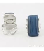 Bague rectangulaire oeil de chat métal bleu foncé