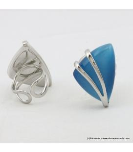 Bague ovale oeil de chat métal bleu