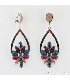 Boucles d'oreilles vintage à clips pierre et métal